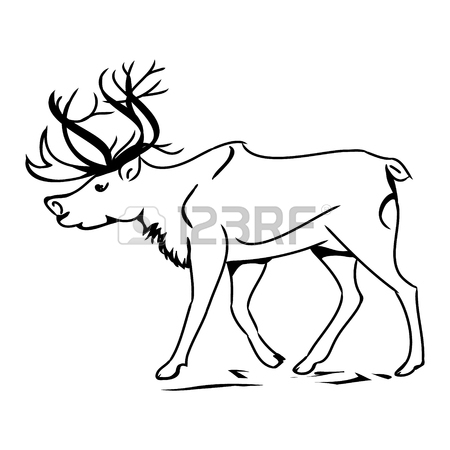 450x450 Graphic Image Of Deer. Black Outline Of A Reindeer On A White
