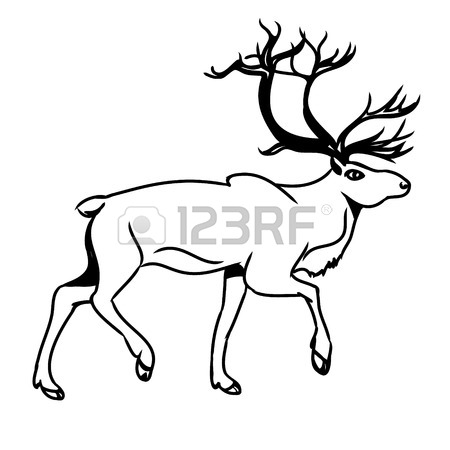 450x450 Graphic Image Of Deer. The Picture Red Reindeer On A White