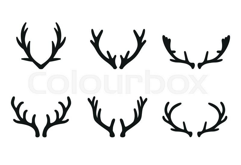 800x547 Vector Deer Antlers Black Icons Set. Deer Logo Design Elements