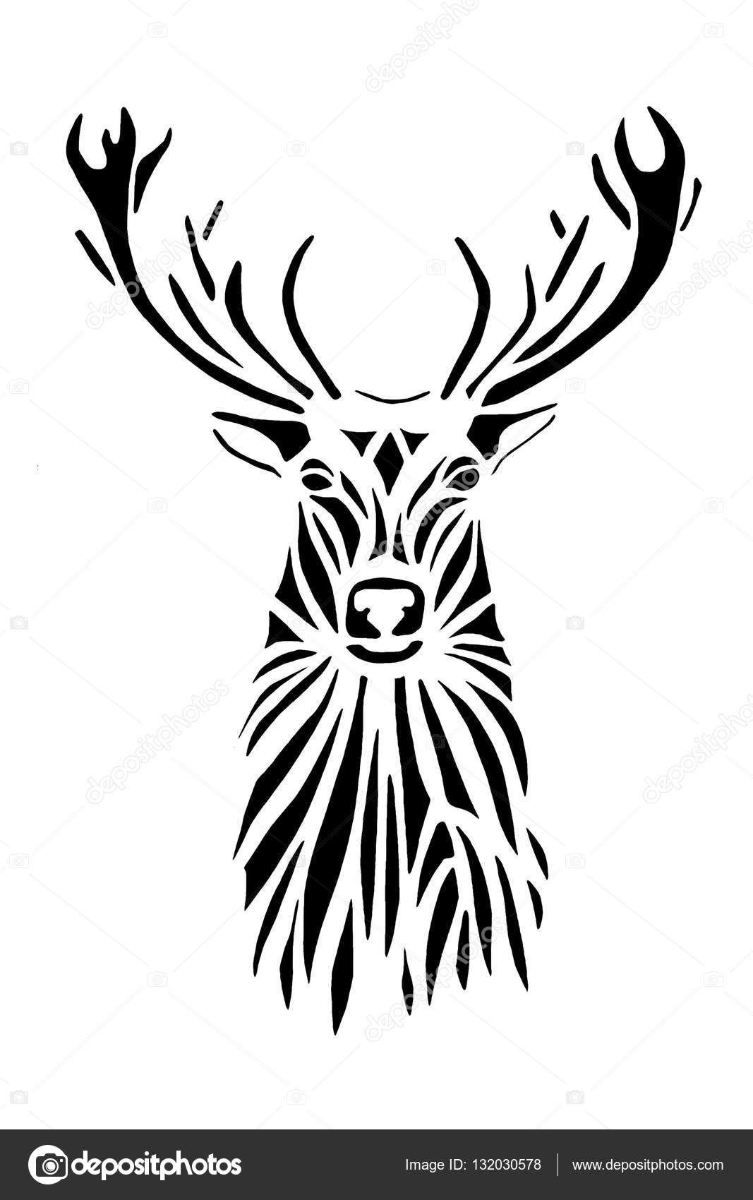 1067x1700 Black Silhouette Face Of Deer On White Background. Stock Photo