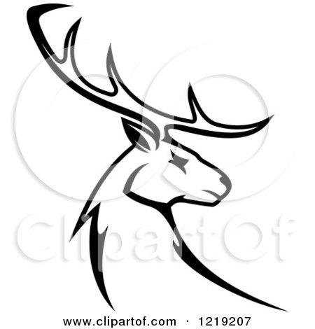 450x470 Clipart Of A Black And White Buck Deer Mascot Head Logo