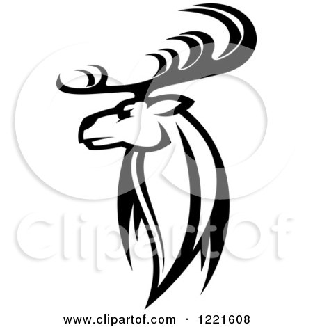 450x470 Clipart Of A Black And White Deer With Antlers 6