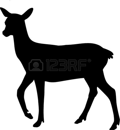 416x450 Doe Deer Silhouette Royalty Free Cliparts, Vectors, And Stock