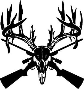 281x300 Deer Skull Gun Rifle Hunting Antler Car Truck Window Laptop Vinyl