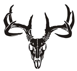 320x295 Deer Skull V6 Decal Sticker