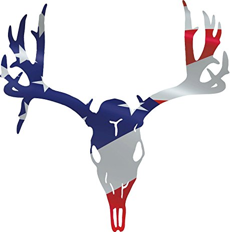 459x463 Deer Skull American Flag Hunting Decal 12x11.75 Inches