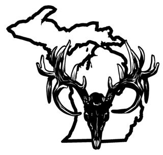 320x305 Michigan Deer Skull Decal Sticker