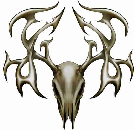 450x438 Tribal Buck Deer Head Skull High Quality Cornhole Board Decal Set