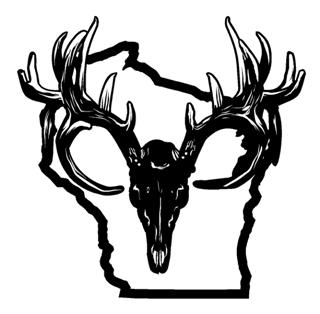320x314 Wisconsin Deer Skull Decal Sticker
