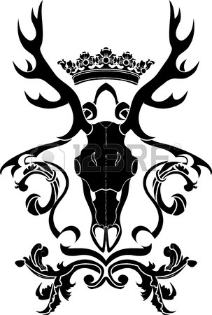 303x450 Emblem, Heraldic Symbol With Deer Skull And Crown, Stencil Royalty