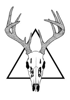 236x338 Whitetail Deer Skull Tattoos Art Nouveau Deer