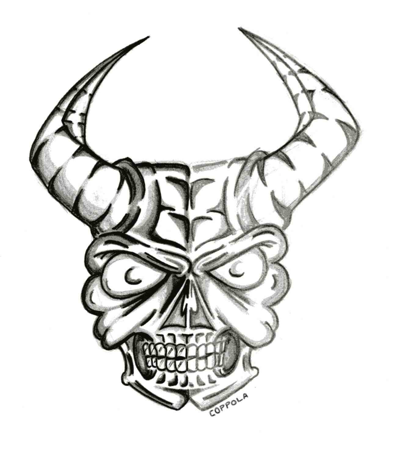 1326x1470 Human Goat Stock Vector Human Skull Drawings With Horns Goat Stock