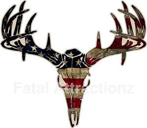 300x260 Distressed American Flag Deer Skull S4 Vinyl Sticker Decal Hunting