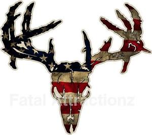 300x266 Distressed American Flag Zombie Deer Skull Vinyl Sticker Decal