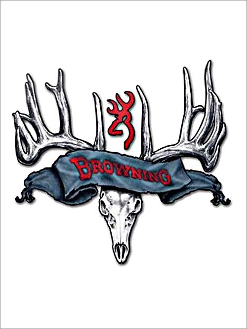 500x666 Browning Logo Official Buckmark Deer Skull Decal Sticker
