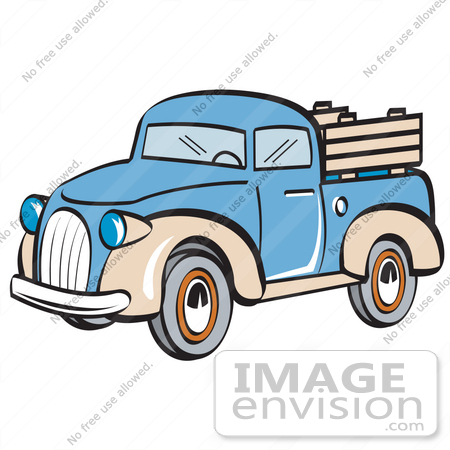 450x450 Royalty Free Cartoon Clip Art Of A Blue And Tan Pickup Truck