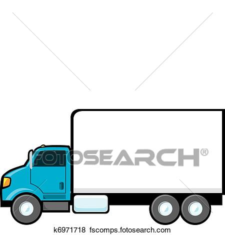450x470 Clip Art Of Blue Delivery Truck K6971718