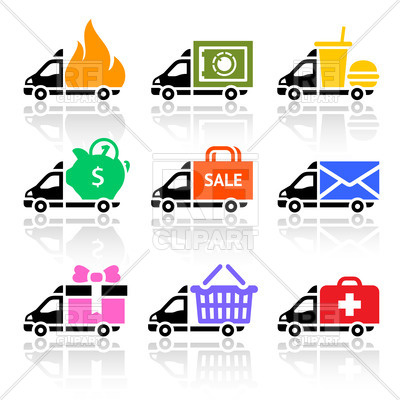 400x400 Delivery Truck And Van Simple Icons Royalty Free Vector Clip Art