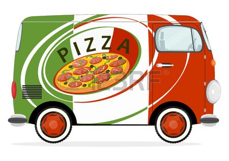 450x318 Funny Cartoon Pizza Delivery Van. Flat Vector Royalty Free