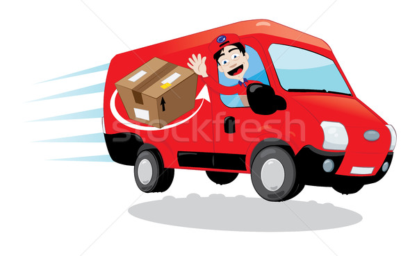 600x369 Courier Driving A Delivery Van Vector Illustration Paola