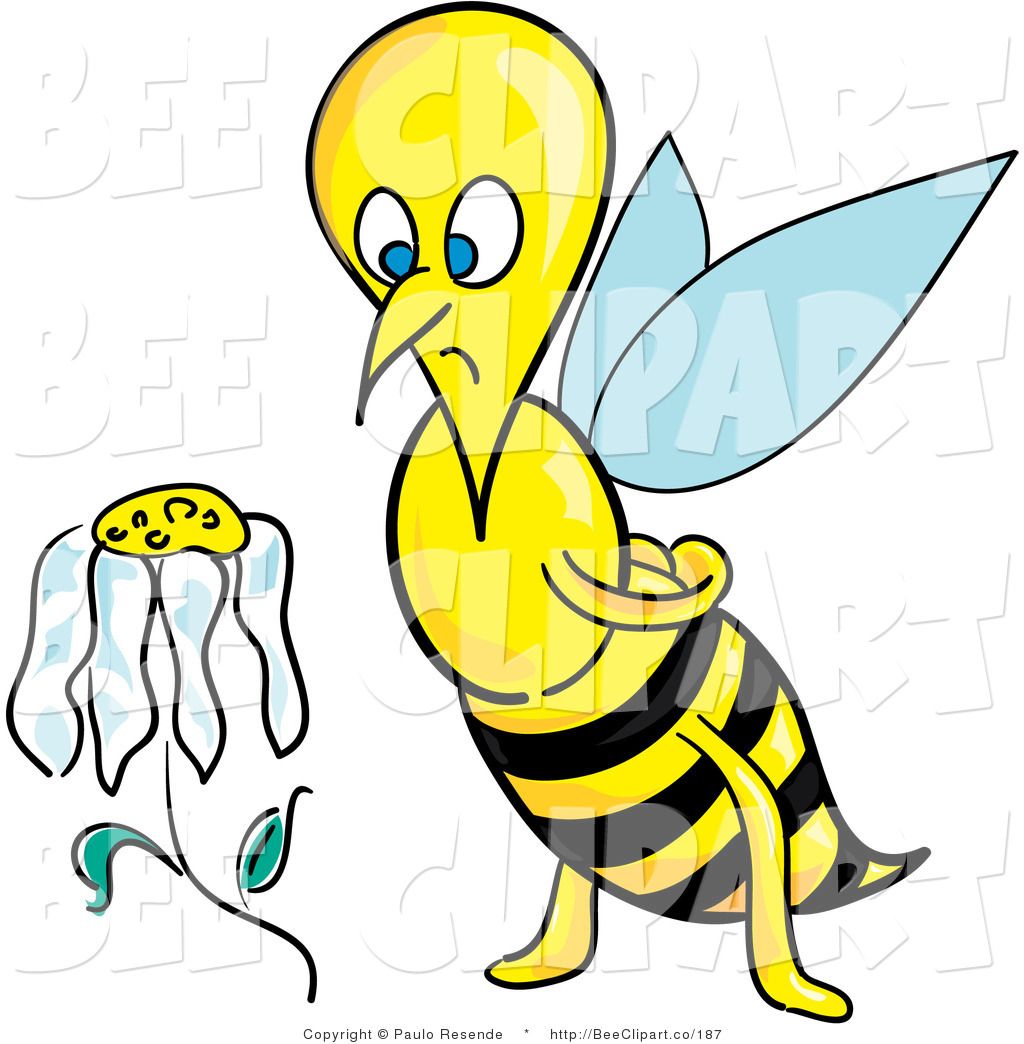 1024x1044 Clip Art Of A Sad And Depressed Honeybee Staring