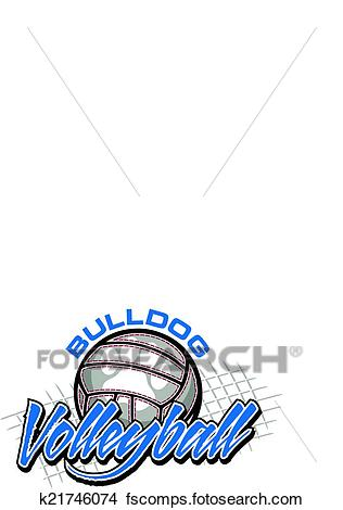 316x470 Clipart of bulldog volleyball design k21746074