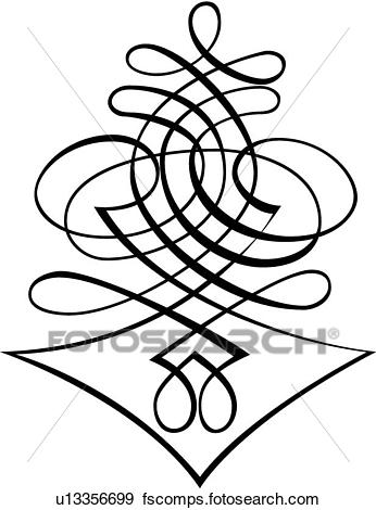346x470 Clip Art of Vertical Crisscross Calligraphic Design u13356699