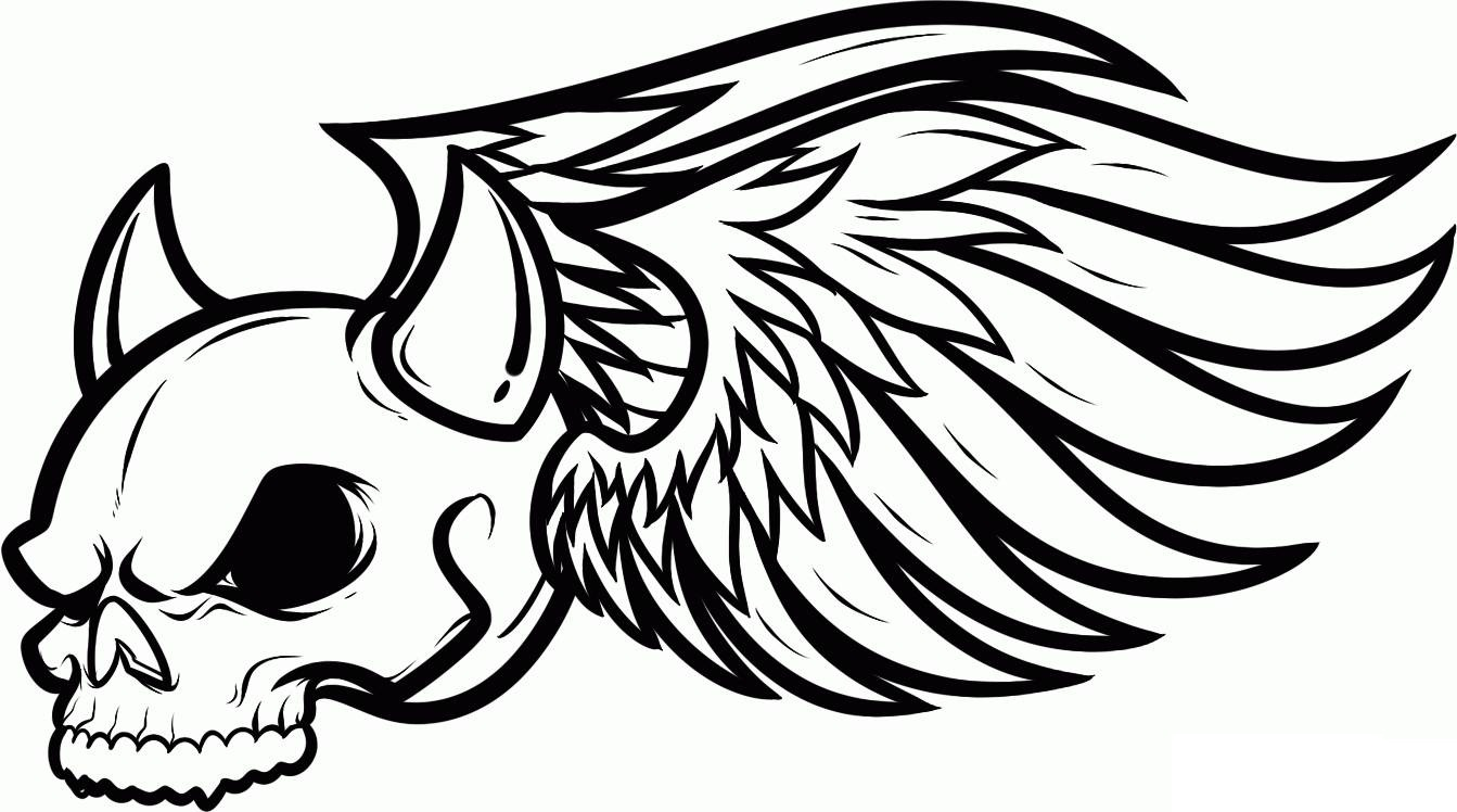 1343x748 Cool Skull Design Coloring Pages Many Interesting Cliparts