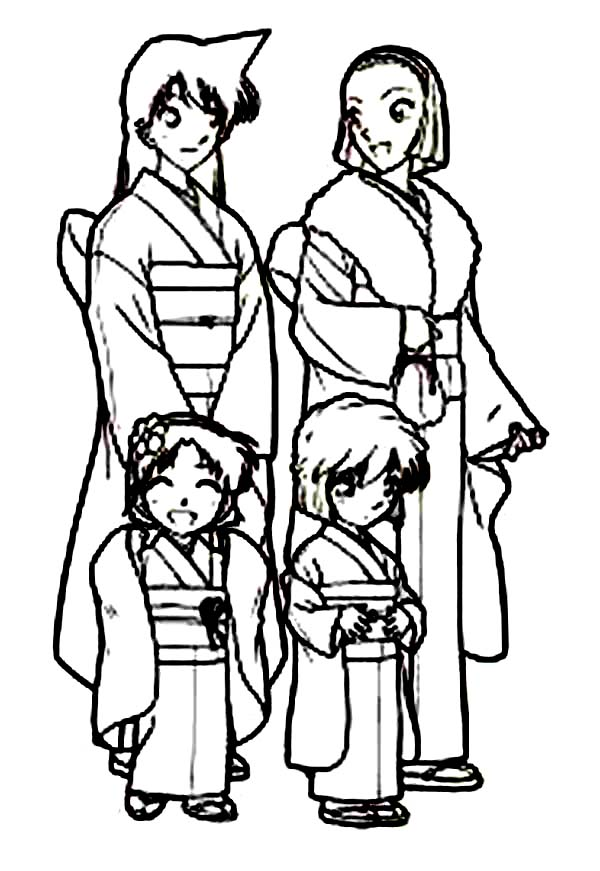600x871 All Girl Characters In Detective Conan Wear Kimono Coloring Page