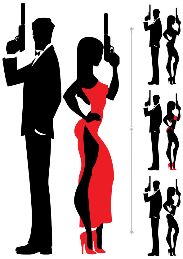 590x835 Spy Couple Vector Cartoon Illustration. Secret Agent