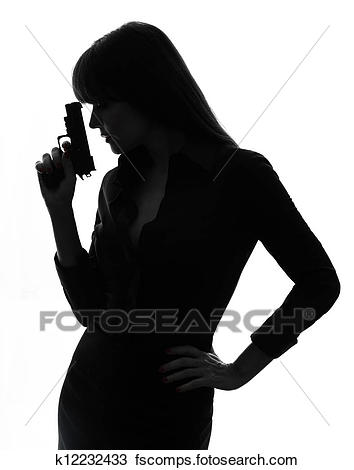 354x470 Stock Photo Of Sexy Detective Woman Holding Aiming Gun Silhouette