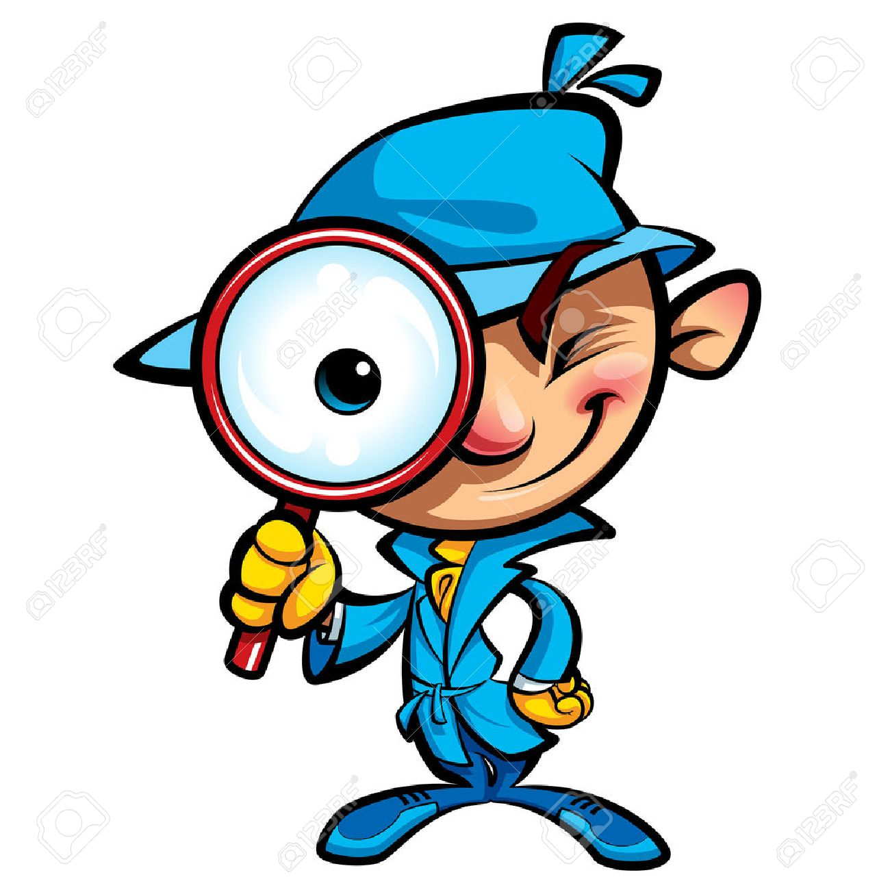 1300x1300 Cartoon Smart Detective In Investigation With Blue Coat Looking