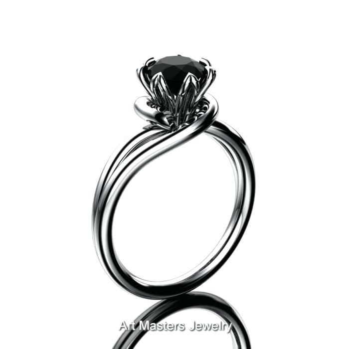 700x700 White Gold Black Diamond Ring Wgbd 10k White Gold Black And White