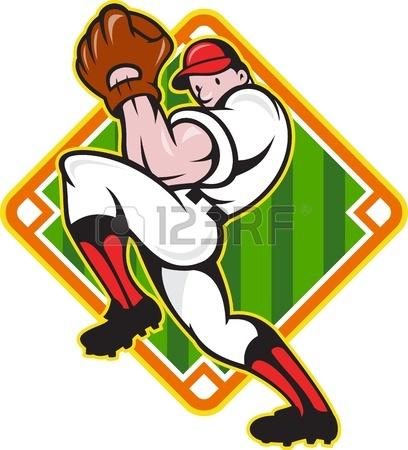 408x450 Cartoon Illustration Of A Baseball Player Pitcher Pitching Ball