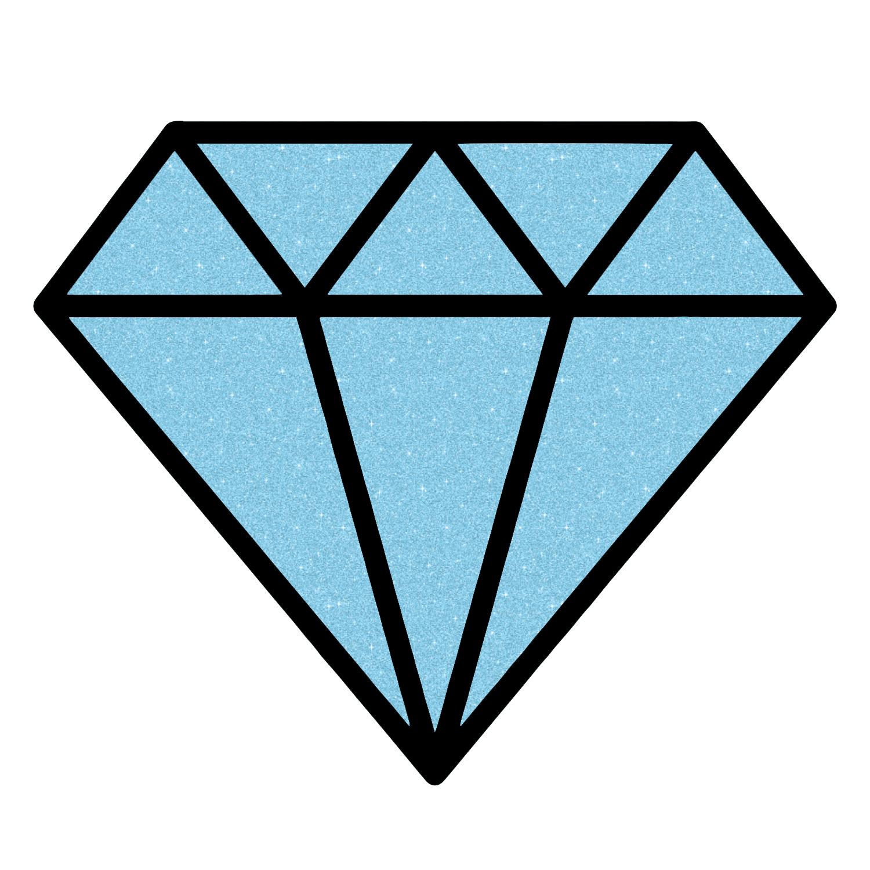 1500x1500 Diamond Outline Sparkle Blue Glitter Sticker 5