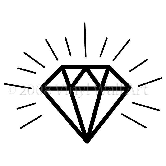 700x700 Outline Black Diamond Tattoo Design