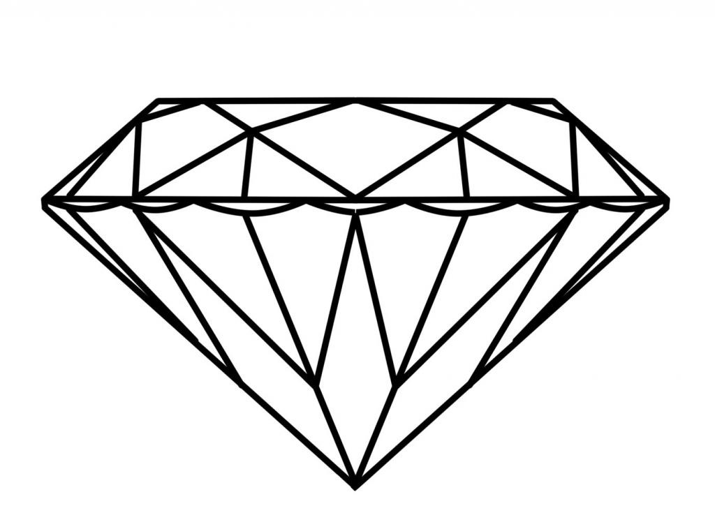 1024x758 Simple Diamond Drawing Diamond Outline Clipartsco