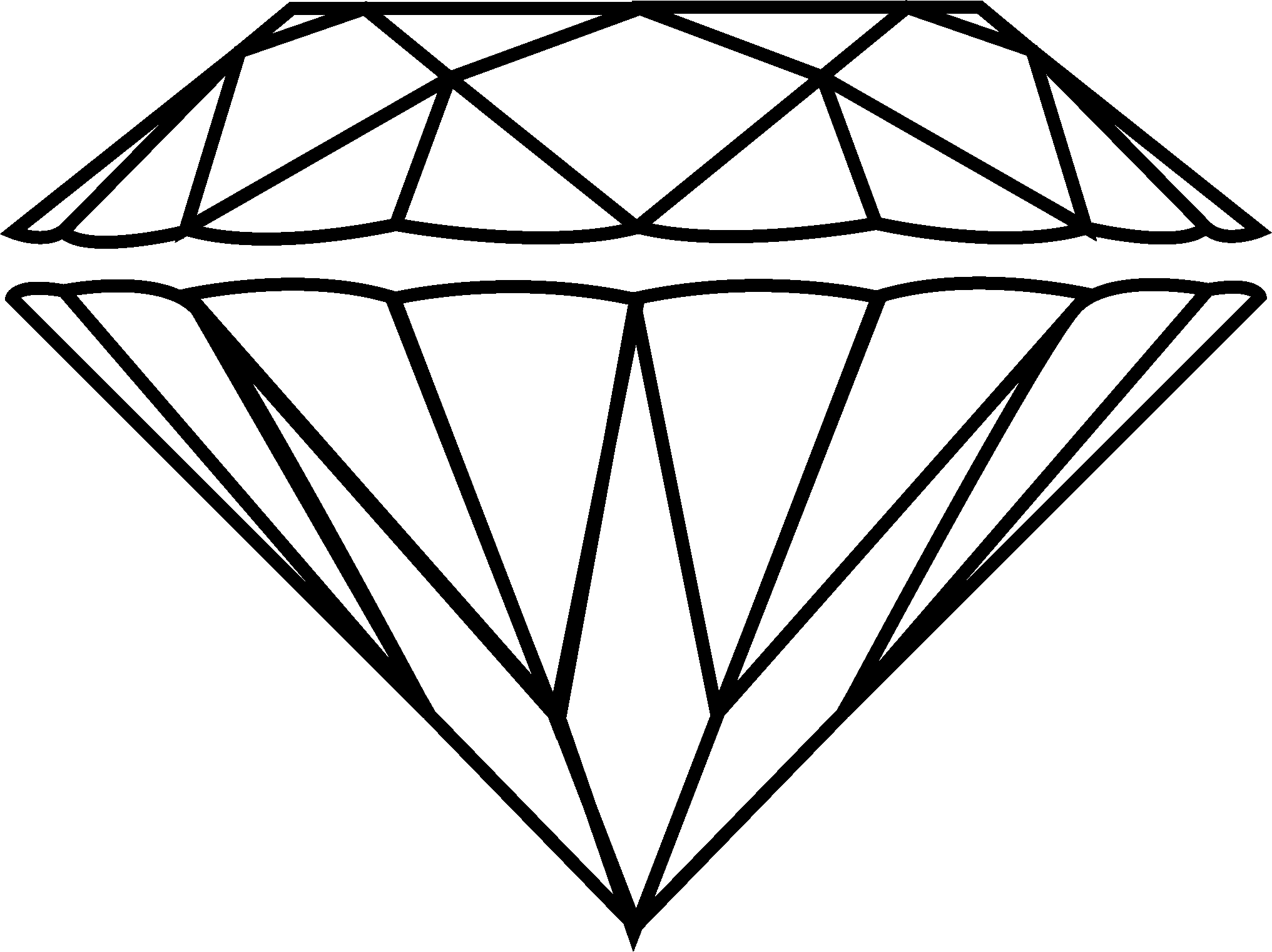 2033x1523 Sketch Clipart Diamond Outline