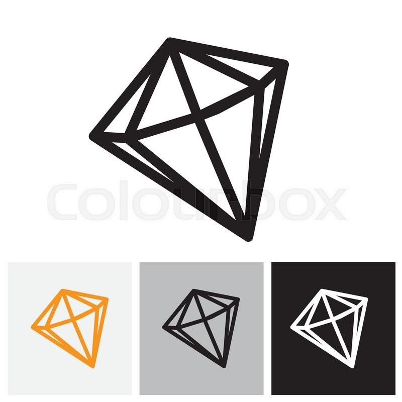 800x800 Black And White Outline Of A Diamond Stone