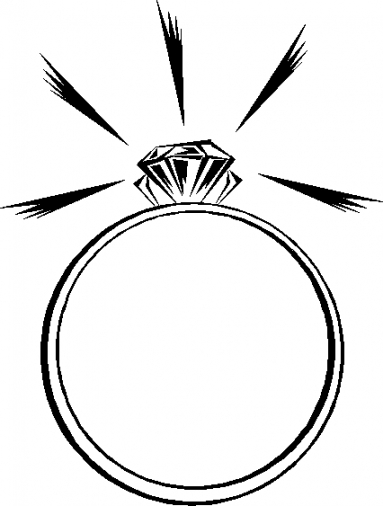 383x506 Engagement ring clipart black and white free