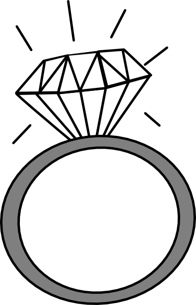384x597 Free Ring Clipart Black and White Image