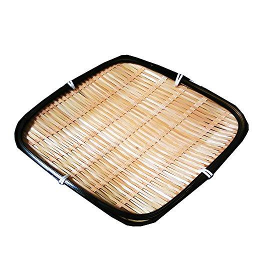 524x524 Bamboo Japanese Basket Dish Diamond Shape, Zaru Plate For Tempura