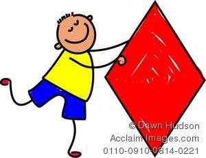 300x229 Illustration Of A Happy Little Boy Holding A Diamond Shape