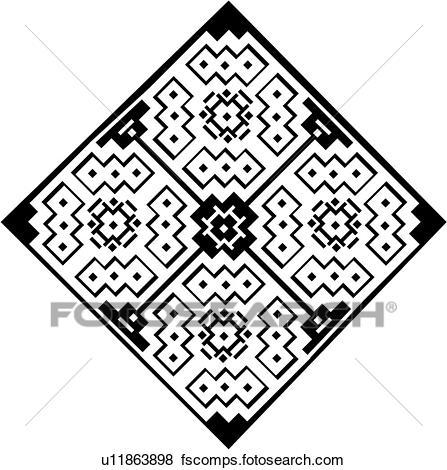 447x470 Clip Art Of , Diamond, Geometric, Mandala, Tile, U11863898