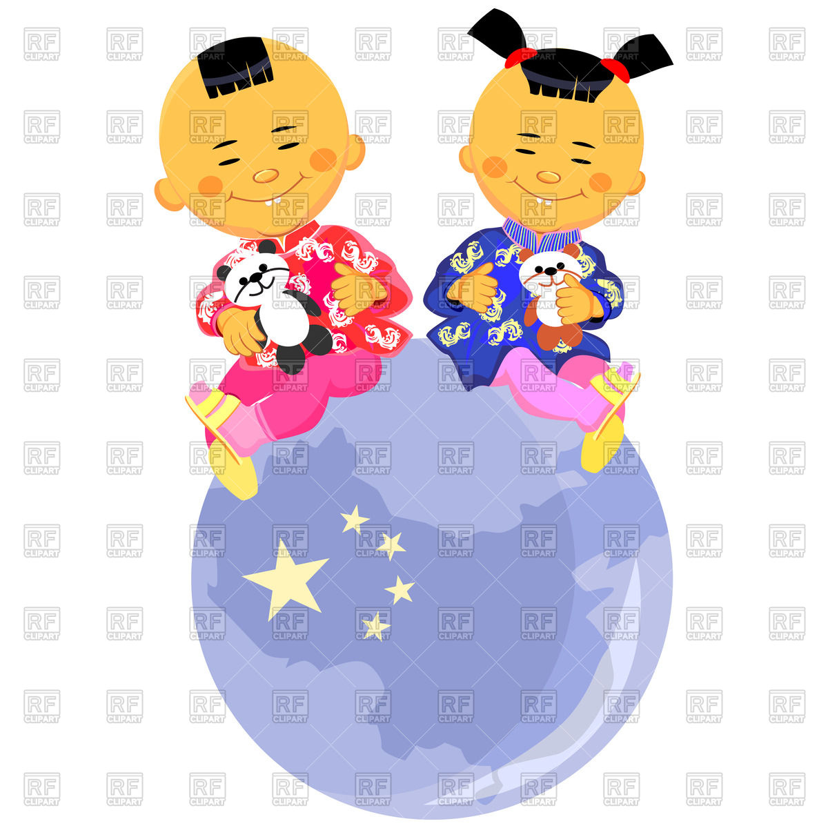 1200x1200 Newborn Happy Babies Toddlers In Diapers Royalty Free Vector Clip
