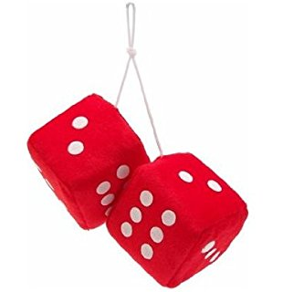 310x320 3 Fuzzy Dice Red With White Dots Automotive