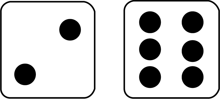 736x331 Math Cliprt Two Dice With 8 Showing,