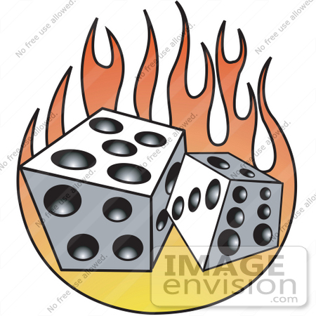 450x450 Royalty Free Cartoon Clip Art Of A Pair Of White And Black Dice