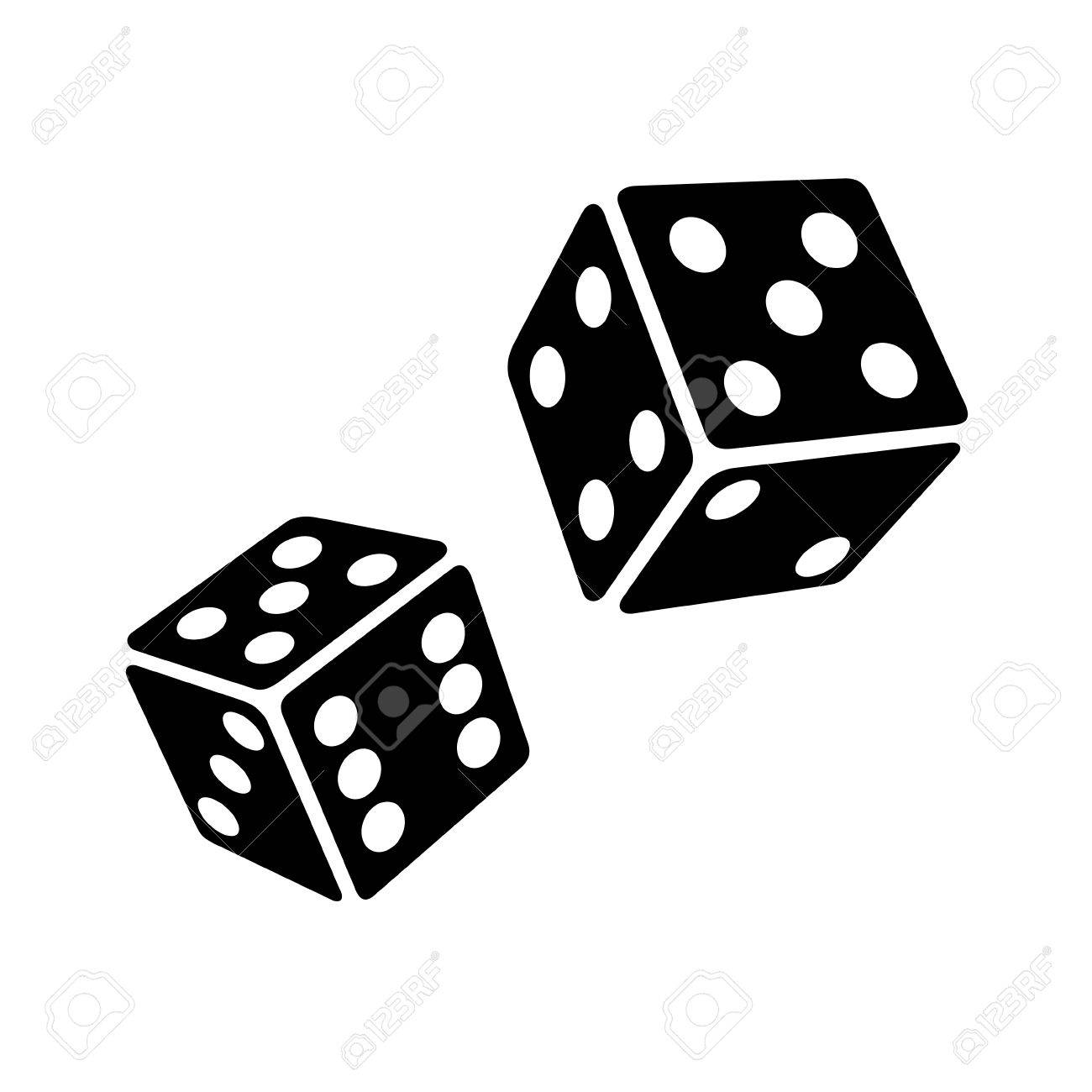 1300x1300 Two Black Dice Cubes On White Background. Vector Illustrations