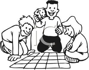 300x237 Black And White Cartoon Of A Group Of Kids Playing Dice